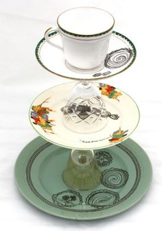 upcycled cake stand with ink drawings
