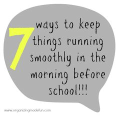 7 ways to keep things running smoothly in the morning before school (and in my case, before school drop off & work). Back to the Basics {Morning Schedules} Back To School Hacks, Back 2 School, School Days, School Info, School Stuff, Life Organization, Organizing Ideas, Super Mom, Working Moms
