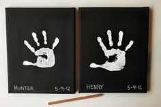 DIY child's hand print on canvas  Can also try on white canvas with black paint for Jaxy