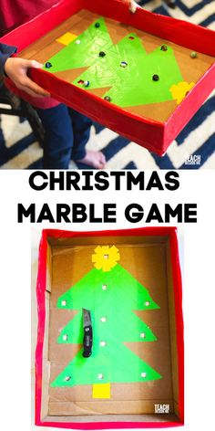 Make this homemade Christmas marble game with a cardboard box and duct tape. Change it up to work any time of year. Christmas Activities For Kids, Outdoor Activities For Kids, Christmas Games, Craft Activities, Diy Crafts To Do, Creative Crafts, Marble Games, Homemade Christmas, Projects For Kids