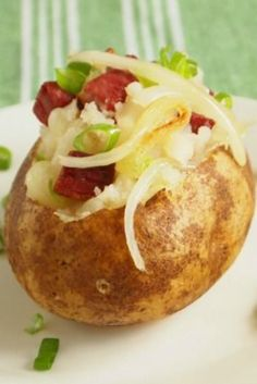 This is a perfect game day corned beef stuffed potato recipe. Make when huge russet potatoes are in season.