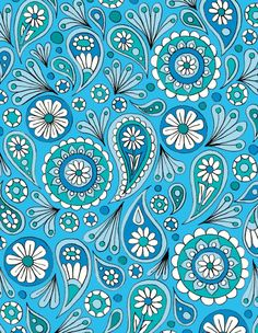 'Blue Paisley Floral' by Sarah Oelerich