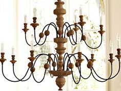 Wood Chandelier   Williams-Sonoma's Wood & Iron Chandelier has antique character.