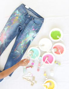 Save hundreds by creating your own pair of DIY Splatter Paint Jeans. Just follow your creative instinct. There is no wrong way to make these.
