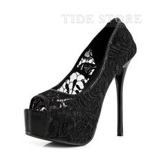 Classcial Flower Print Lace Stiletto Heel Pumps Black (60 CAD) ❤ liked on Polyvore featuring shoes, pumps, tidestore, lace shoes, black stilettos, black lace shoes, stiletto pumps and black floral shoes