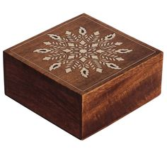 Bulk Wholesale Handmade Mango-Wood Square Jewelry Box / Trinket Box with Floral Inlay Work – Decorative Storage / Keepsake Boxes for Art-Lovers