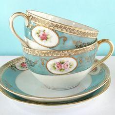 2 Antique Nippon Tea Cups, 1930's Teacup Set, Tea Party, Bridal Shower, Vintage…