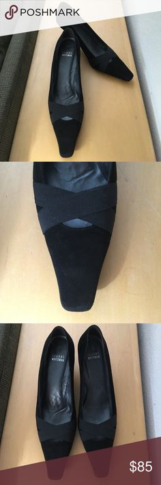 """⬇️ PRICE DROP! Stuart Weitzman black kitten heels Elegant black suede kitten heels with black elastic crisscross detail, pewter leather interior, with Stuart Weitzman dust bag. In excellent pre-owned condition, worn only once. No scuffs or flaws on suede or elastic or heels. Tiny ding in the bottom tip of one heel.   2"""" heel.  Size 9 M. Please see photos. Stuart Weitzman Shoes Heels"""