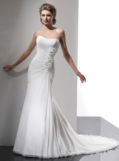 Sheath Strapless Scoop Neckline Asymmetrically Ruched Bodice Flowers Chiffon Wedding Dress-ws0065, $219.95