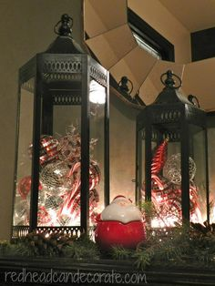 Lanterns filled with bulbs = love!! Redhead Can Decorate