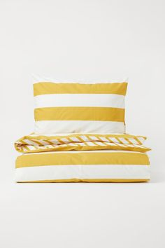 Striped Duvet Cover Set - Yellow/white - Home All   H&M US 1 Single Duvet Cover, Duvet Cover Sets, House Doctor, Washed Linen Duvet Cover, Lit Simple, Kids Bedding Sets, H & M Home, Cotton Duvet, Cotton Fabric