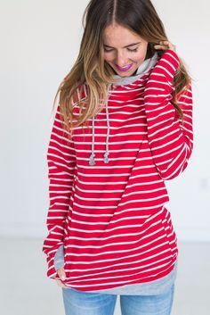 Double Hooded Sweatshirt - Red Stripe