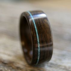 Ring | Frank Ladner ~ Stout Woodworks. Ziricote wood with thin offset crushed turquoise inlay Follow me on twitter @fernanmedequill