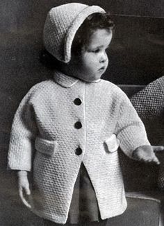 NEW! Coat & Bonnet knit pattern from Nomotta Baby Book, Amicale Yarns Volume No. 122 from 1954.