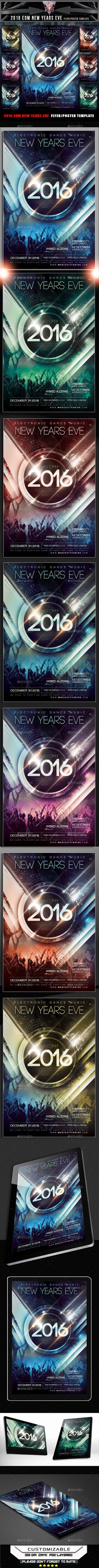 2016 EDM New Years Eve Flyer Template — Photoshop PSD #house #speaker • Available here → https://graphicriver.net/item/2016-edm-new-years-eve-flyer-template/13832062?ref=pxcr