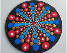 Pintura de Mandala original sobre lienzo pintura oficina y
