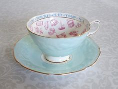 Vintage Paragon Tea Cup and Saucer in Sky Blue c. 1930s / Vintage Fortune Telling Teacup Set / Paragon Tea Leaf Reading Teacup - pinned by pin4etsy.com