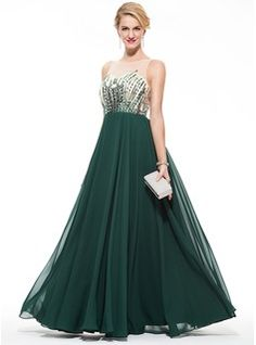A-Line/Princess Scoop Neck Floor-Length Beading Sequins Zipper Up Regular Straps Sleeveless No Dark Green Spring Summer Fall General Plus Chiffon Prom Dress