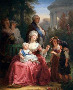 Louis XVI et Marie-Antoinette dans le jardin de Versailles, par le peintre français Charles Louis Lucien Muller.