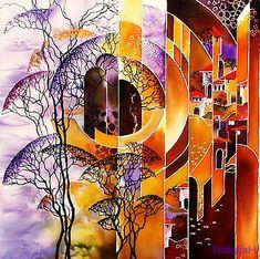 Картины в технике Батик затерянный город 50х55 (4000) копия Л.Горбаля (Осень)