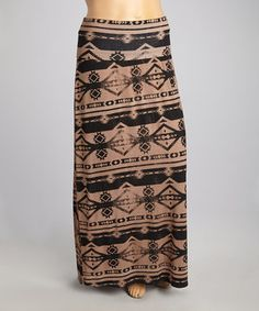 Another great find on #zulily! Brown Tribal Maxi Skirt - Plus by Terri B #zulilyfinds