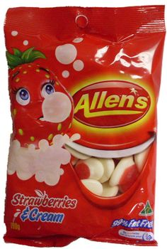 Xmas lolly table: Allens Strawberries & Cream