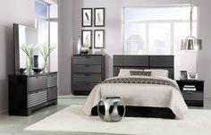 Reaction Black Grey 5Pc Bedroom Set W/Full/Queen Panel Headboard STD-67850-S1