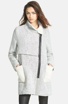Free shipping and returns on GLAMOROUS Wool Blend Tweed Coat at Nordstrom.com. Plush fleece lines the body and accents the front pockets of a sophisticated herringbone-tweed coat designed with an off-center zip closure and sleek faux-leather trim.
