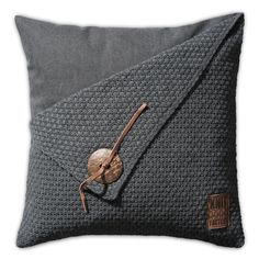 Pillow 50x50 - Gerstekorrel antra by Knit.  Beautiful Dutch brand in soft furniture; delicately knitted plaids, pillows, lampshades, Cosy Bags and placemats.www.knitfactory.nl
