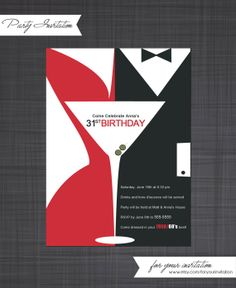 Madmen Inspired  Party Invitation by ForYourInvitation on Etsy, $12.00