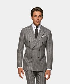 Mid Grey Stripe Havana Suit Grey Stripes, Havana, Double Breasted, Perfect Fit, Suit Jacket, Trousers, Suits, Jackets, Fashion