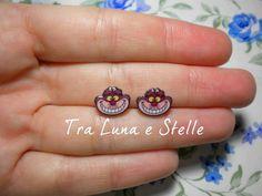 Handmade Stud Earrings Cheshire Cat Alice in Wonderland Disney - cute by TraLunaeStelle on Etsy, $9.00