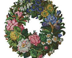 Bright flower wreath cross stitch and berlinwork vintage pattern