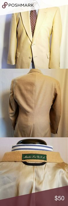 """Wimbledon of England Camel Blend 2B Jacket Sz 42R Handsome 2 button blazer with single rear vent. Fully lined. No tag indicating 100% camel hair, but from my experience it seems like a camel hair wool blend. It's so soft. No holes. Excellent condition. Made in the USA by Union of needle trades industrial and textile employees. Professionally dry clean low moisture utility press. Measurements in inches Shoulders 20"""" Chest 23"""" Sleeve 24.5"""" Length 32"""" Wimbledon Suits & Blazers Sport Coats…"""