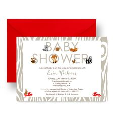 Cool Mod Woodland Baby Shower Invitation Neutral by PaperCleverParty