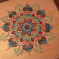"Henna style mandala on 12"" x 12"" canvas by Henna on Hudson"