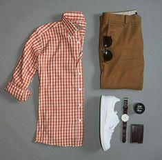 I like this plaid shirt in orangish or redish tones