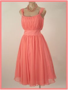Vintage Inspired  Peach/Pink  Chiffon  Tea Length Dress