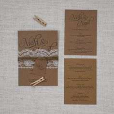 Simple Script Rustic Lace & Twine Wedding Invite - Be My Guest