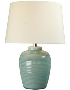 Lume Barrel Blue Table Lamp With Shade. Ridged Ceramic Table Lamp Base With  Lampshade.