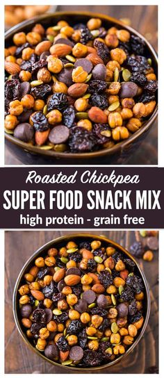 Roasted Chickpea Snack Mix – Crunchy cinnamon oven roasted chickpeas with dried cherries, almonds, pumpkin seeds, and dark chocolate. Sweet, spicy, and so addictive! Easy, packed with super foods, and high protein, it's the perfect on-the-go healthy snack recipe! #vegan #easy #roastedchickpeas #healthy #snack via @wellplated