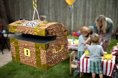 Pirate Party Treasure Chest Piñata! How cute is that?!?!