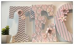 Pink and Gray. Damask. Chevron. Girls Nursery Letters. by dmh1414