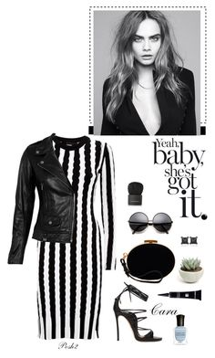 """""""Black & White Dress & Leather Jacket!"""" by prettynposh2 ❤ liked on Polyvore"""