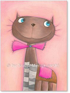 """Serie: Pastellkreide Bilder Motiv: """"Katze Candy Cat"""" - Serie: Bilder für's Kinderzimmer."""