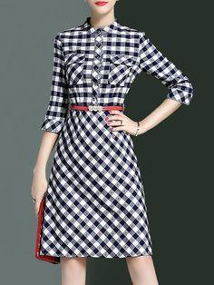 Shop Midi Dresses - Vintage Stand Collar 3/4 Sleeve A-line Shirt Dress online. Discover unique designers fashion at StyleWe.com.