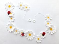 Decoração de Crochê Flores Guirlanda -  /  Crochet Garland Flowers Decoration -
