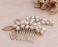 This beautiful bridal haircomb is designed and handmade by me in Magic Bluebell Designs studio. * Measurements - 11 x 8 cm = 4,3 x 4,1 inches * Genuine freshwater pealrs * Choose from Gold ,Silver or Rose gold base colours * Choose from White and Pink freshwater pearls * Custom