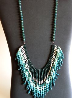 Native American necklace in greens and cream with crystals by MontanaTreasuresbyMJ on Etsy