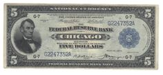 This federal reserve bank note from the Chicago district is solidly within the VF grade range. We probably see one 1918 $5 FRBN for every fifty 1914 $5 FRN, yet the price on these doesn't seem to accurately reflect that vast disparity.
